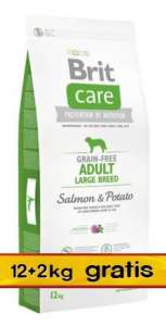 Brit Care Grain Free Adult Large Salmon & Potato 14kg (12+2kg gratis)