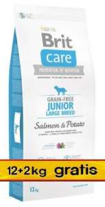 Brit Care Grain Free Junior Large Salmon & Potato 14kg (12+2kg gratis)
