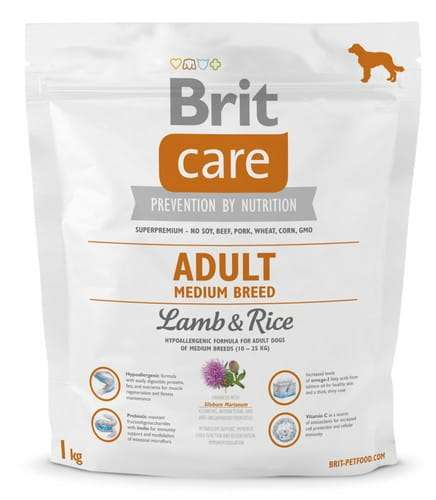 6831Brit Care New Adult Medium Breed Lamb & Rice 1kg-1