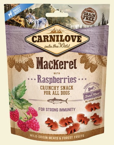 5200Carnilove Dog Snack Fresh Crunchy Mackerel+Raspberries 200g-1