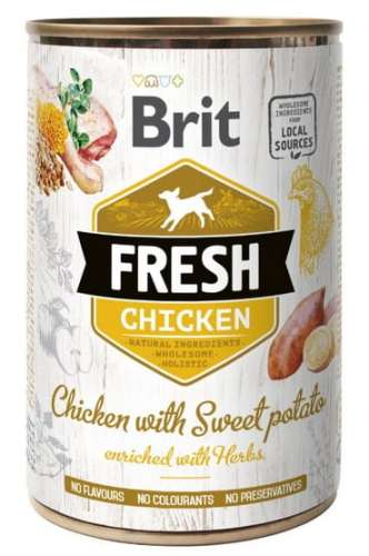 7567Brit Fresh Dog Chicken with Sweet Potato puszka 400g-1