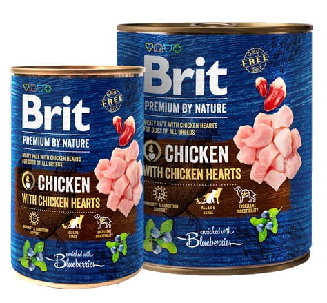 13410Brit Premium By Nature Chicken & Hearts puszka 400g-1